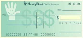 Handy bank. Generic cheque design by a very useful and handy bank:o royalty free illustration