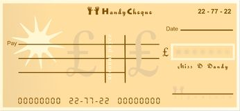 Handy cheque. Generic handy cheque design for handy business stock illustration