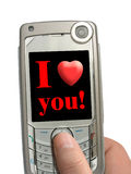 Handy in der Hand, ich liebe dich! auf Bildschirmanzeige Lizenzfreie Stockbilder