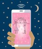 Handy in der Hand, der Liebeshochzeit Valentinsgruß sendet Lizenzfreie Stockfotografie