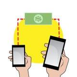 Handy in der Hand und Geldikone Stockfotos