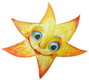 Handy drawing star with smile. Handy drawing yellow star with smile stock illustration