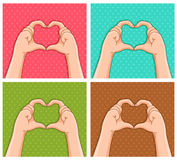 Handy hearts. Hands creating hearts shapes on different colored backgrounds Stock Image