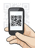 Handy im männlichen Handscannen qr Code Lizenzfreies Stockbild