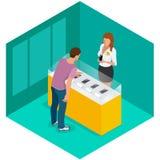 Handy im Shop Verkauf, Smartphone Flache isometrische Illustration des Vektors 3d für infographic Lizenzfreie Stockfotos