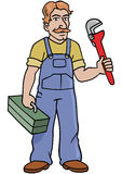 Handy Man. A handy man holding a wrench and toolbox vector illustration