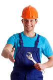 Handy man welcoming Royalty Free Stock Photography