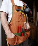 Handy man. In from of workshop Royalty Free Stock Images