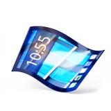 Handy mit dem flexiblen Schirm lokalisiert auf Weiß Stockfotos