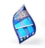 Handy mit dem flexiblen Schirm lokalisiert auf Weiß Stockfotografie