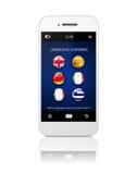 Handy mit Erlernen- der Spracheanwendung über Weiß Stockfotografie