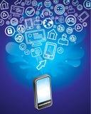 Handy mit hellen Sozialmediaikonen Stockfotos