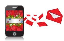 Handy mit Hintergrund des neuen Jahres sendet messag Stockbilder