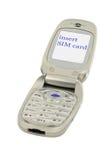 Handy mit KARTEN-Text DER EINLAGEN-SIM Lizenzfreie Stockfotografie