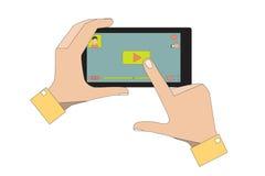 Handy mit Video-Player-APP Lizenzfreie Stockfotografie
