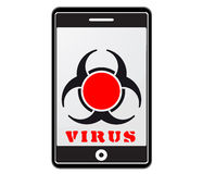 Handy mit Virus Stockfoto