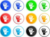 Handy sign icons. Collection of handy hand sign icons isolated on white stock illustration