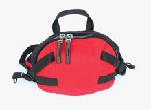 Handy sport bag. Red handy sport`s bag textile closeup isolated on white background Royalty Free Stock Photography