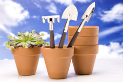 Handy tools, gardening concept on sky Stock Photography