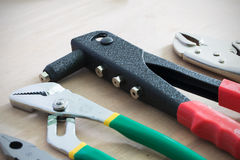 Handy tools place on the wooden table Royalty Free Stock Image