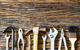 Handy tools on wood background. A still-life of tools on wood background Stock Photo