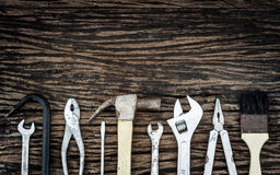 Handy Tools on wood background. A still-life of tools on wood background Stock Photography