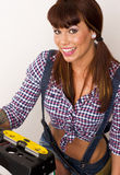 Handy Woman Level Ladder Suspenders Plaid royalty free stock image