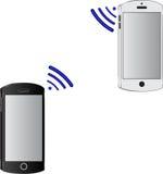 Handy zwei drahtlos angeschlossen lizenzfreie abbildung