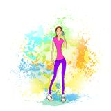 Handyanruf der jungen Frau über abstrakter Farbe Stockbild