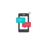 Handychat-Mitteilungsmitteilungen vector Ikone, die plaudernden Blasenreden des Smartphone und online sprechen, Mitteilung lizenzfreie abbildung