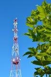 Handykommunikationsradio-Fernsehturm, Mast, Zellmikrowellenantennen und Übermittler gegen den blauen Himmel und die Bäume Stockbild