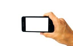 Handyleerer bildschirm in der Hand lokalisiert Lizenzfreie Stockfotos