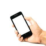 Handyleerer bildschirm in der Hand lokalisiert Stockfoto