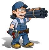 Handyman - μπλε υδραυλικών Στοκ φωτογραφία με δικαίωμα ελεύθερης χρήσης