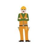 Handyman που φορά τα ενδύματα εργασίας και μια ζώνη με τα εργαλεία Στοκ Φωτογραφίες
