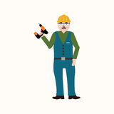 Handyman που φορά τα ενδύματα εργασίας και μια ζώνη με τα εργαλεία Στοκ Εικόνες