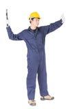 Handyman σε ομοιόμορφο με το σφυρί του Στοκ φωτογραφία με δικαίωμα ελεύθερης χρήσης