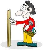 Handyman. Cartoon of handyman with hammer Stock Photos