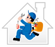 Handyman. Fully equipped handyman hurrying on his assignment Stock Photography