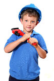Handyman. Boy with hard-hat on holding a wrench over his shoulder, isolated on a white background stock images