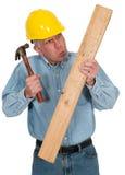 Αστείο Handyman, ανάδοχος, εργαζόμενος, που απομονώνεται Στοκ Εικόνες