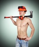 Handyman with ax Royalty Free Stock Image