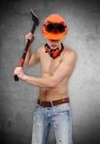 Handyman with ax Stock Image