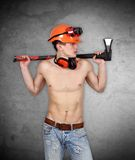 Handyman with ax Stock Image