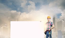 Handyman with banner Stock Photography