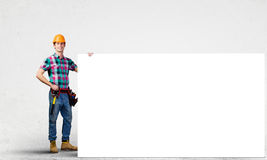 Handyman with banner Stock Images
