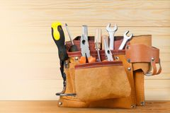 Handyman belt. Box carpenter carpentry closeup construction equipment stock photography
