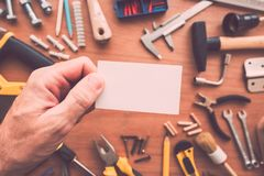 Handyman blank business card as copy space royalty free stock photos