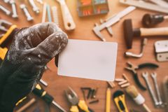 Handyman blank business card as copy space stock photo