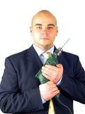 Handyman Bond. Bond pose with drill royalty free stock photo